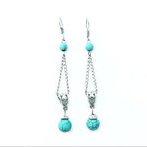 Simple Faux Turquoise Drop Earrings